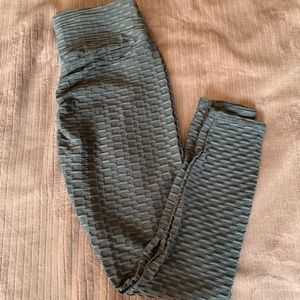 Grey New Mix Textured Rusched Leggings